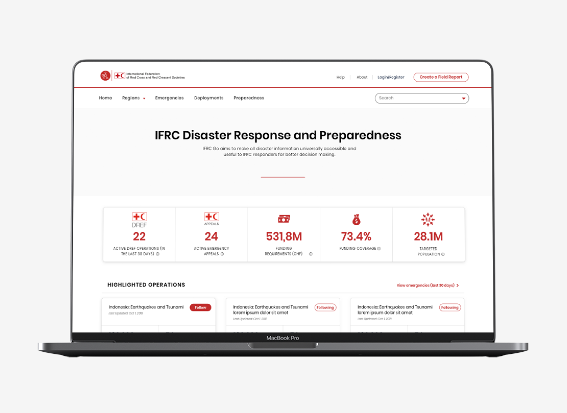 IFRC-GO platform displayed on a computer image