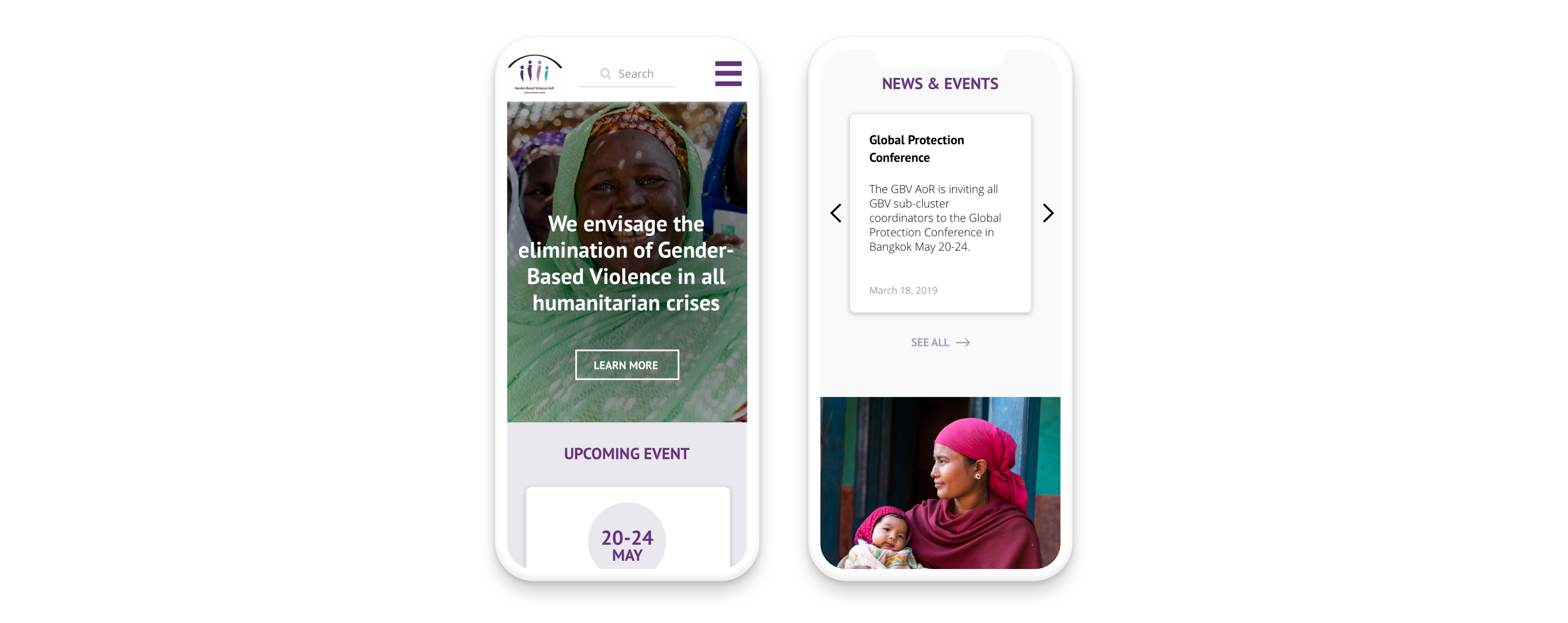 GBV-AoR website displayed on mobile version